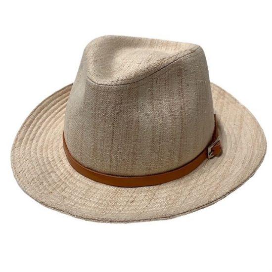 antica cappelleria troncarelli roma cappello in lino tesa 2 e cuoio