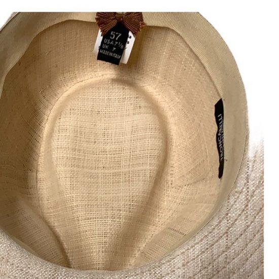 antica cappelleria troncarelli roma cappello in lino tesa interno e cuoio