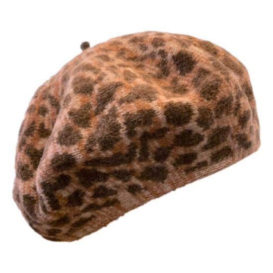 Antica Cappelleria Troncarelli Roma - Woolen beret cheetah by Kopka Taupe